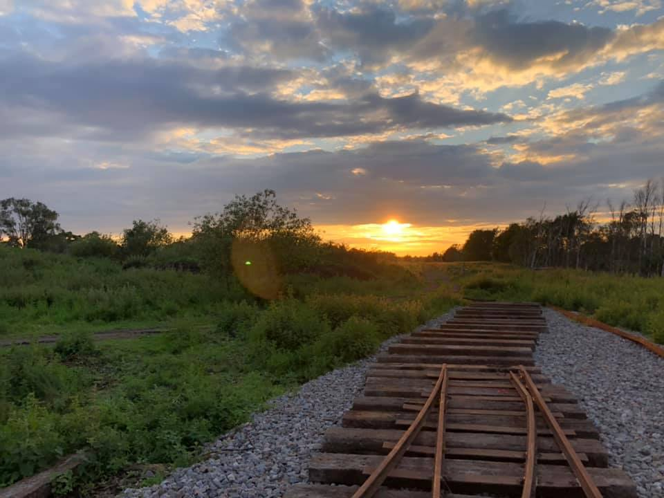 The trackline being laid late into the evening at Crowle Peatland Railway