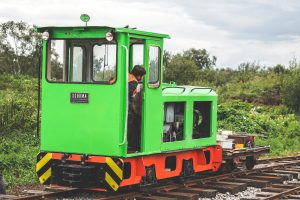 Schomo loco being tested on the newly laid track at Crowle Peatland Railway