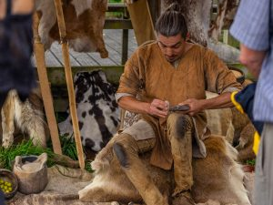 Neolithic man at work - part of the display for the Neolithic trackway event