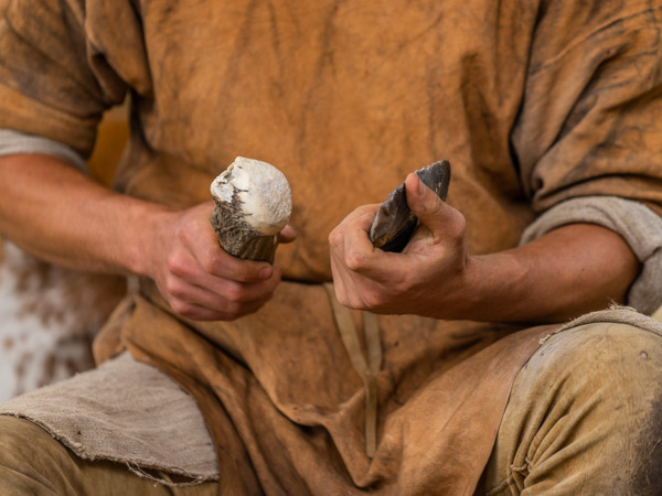 Neolithic man with his tools - part of the display for the Neolithic trackway event