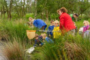 Pond dipping with school children - teacher