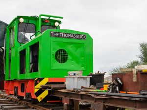 Front of the Schomo loco on the test track at Crowle Peatland Railway