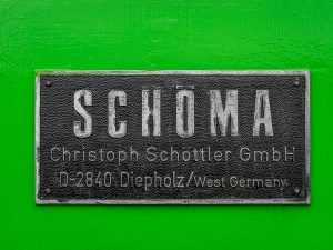 The Schomo plate from one the locos based at Crowle Peatland Railway