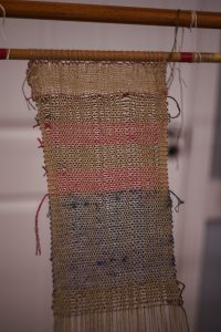 Completed weaving by the volunteers
