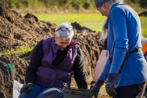Volunteers undertaking archaeological activities on the 'Presenting the Past' big dig