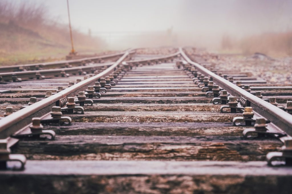 Part of the rail trackway at Crowle