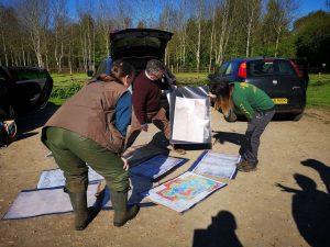 Volunteers planning for the coring work