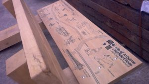 Oak bench with carvings installed on the Isle of Axholme Greenway