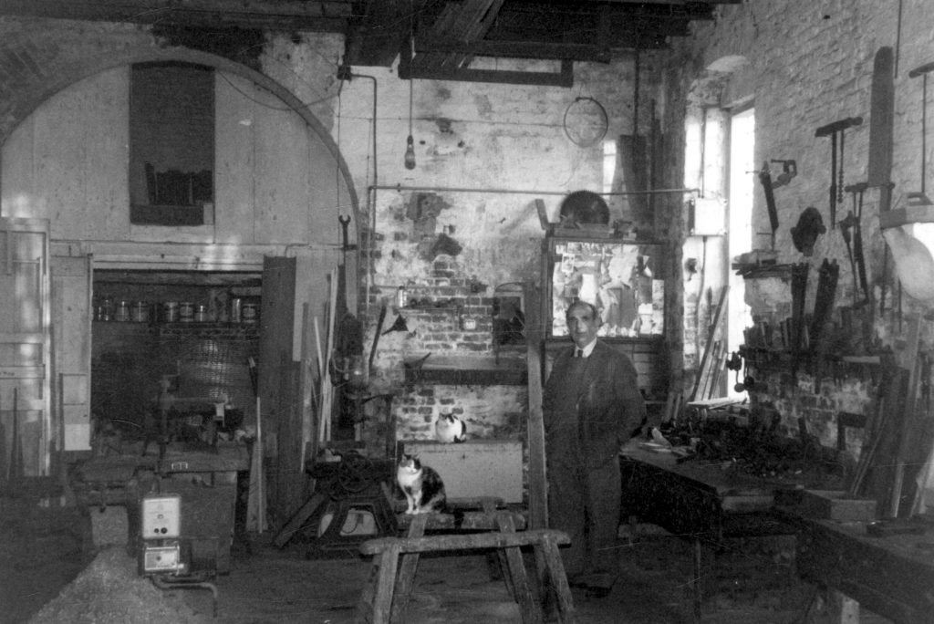 Workshop interior; at the west end of a warehouse of Crooked Billet Inn, Silver Street, Owston Ferry