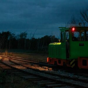 Locomotive on the track at Crowle Peatland Railway